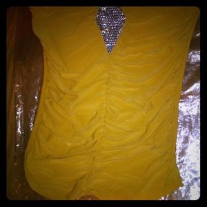 Yellow tube top with diamond accent